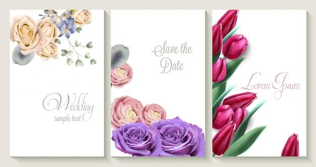 De vectorkaart van de huwelijksuitnodiging die met rozen en tulpenbloemen wordt geplaatst