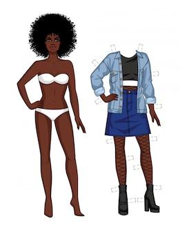 De vectorkleurenillustratie van een afrikaans amerikaans meisje in het ondergoed bevindt zich vooraan. papieren pop van donkere huid meisje in 90s fashion stijl. set van vrouw met kleding