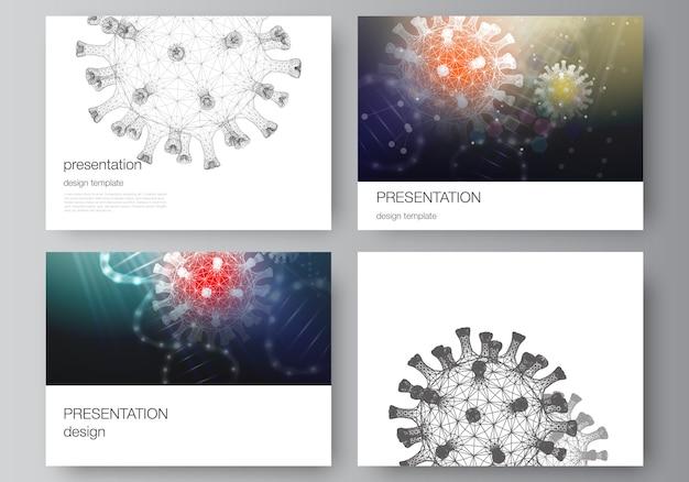 De vectorlay-out van de presentatiedia's ontwerpt bedrijfsmalplaatjes met 3d illustratie van coronavirus. covid-19, coronavirus-infectie.