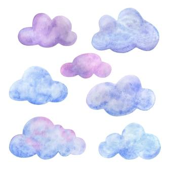 De veelkleurige lucht. een set cartoon wolken clipart in roze, lila en blauwe tinten.