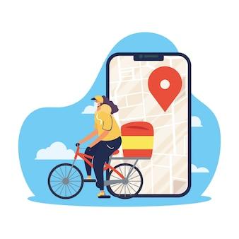 De veilige vrouwelijke werknemer van de voedsellevering in fiets met smartphone voor covid19