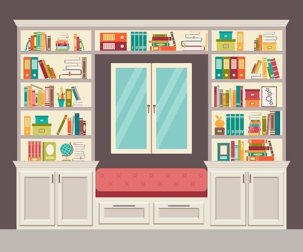 De vensterbank en muur van boeken voor het thuiskantoor