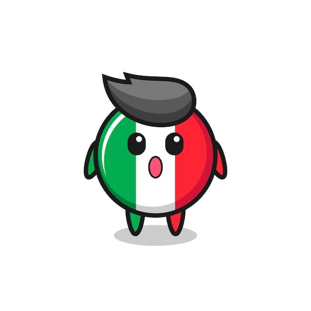 De verbaasde uitdrukking van de italiaanse vlag cartoon, schattig stijlontwerp voor t-shirt, sticker, logo-element