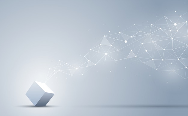 De verbinding van 3d kubus met abstracte geometrische veelhoekige met verbindende punten en lijnen. abstracte achtergrond. blockchain en big data-concept.