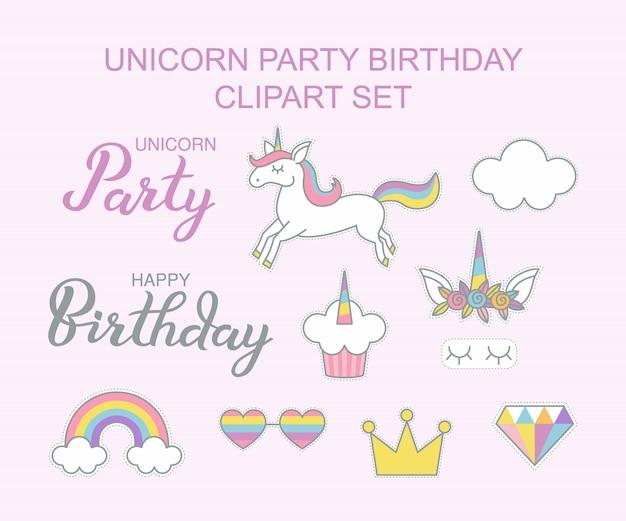 De verjaardagscake van de eenhoornpartij clipart geplaatst magisch ontwerp