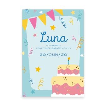 De verjaardagsuitnodiging van kinderen met cake