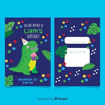 De verjaardagsuitnodiging van kinderen met dinosaurus