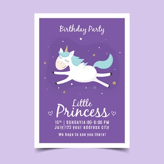 De verjaardagsuitnodiging van kinderen met eenhoorn
