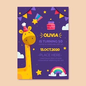 De verjaardagsuitnodiging van kinderen met girafsjabloon