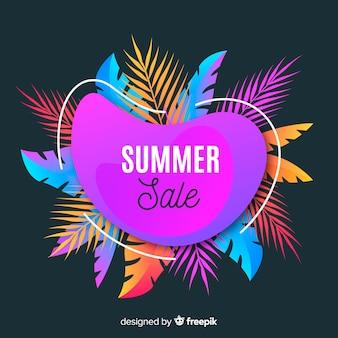 De verkoop vloeibare vormen van de zomer en tropische bladerenachtergrond