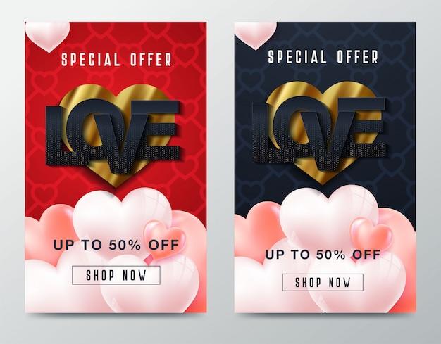 De verkoopachtergrond van de valentijnskaartendag met pictogramreeks