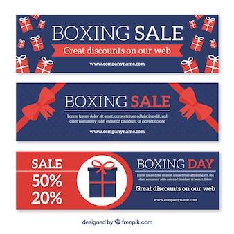 De verkoopbanner van de in dozen doend dag in marineblauw