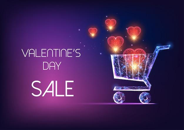 De verkoopbanner van de valentijnskaartendag met gloeiend laag veelhoekig boodschappenwagentje en rode vliegende harten