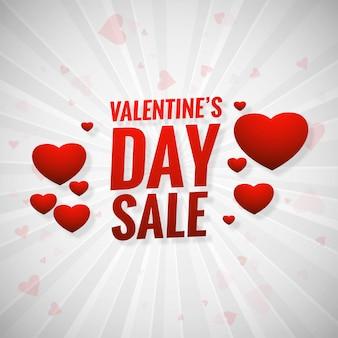 De verkoopbanner van de valentijnskaartendag met harten