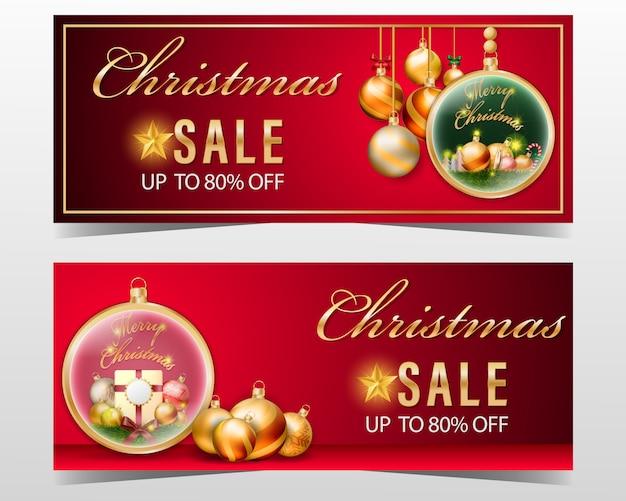 De verkoopbanner van kerstmis die met decoratieelement en rode achtergrond wordt geplaatst.