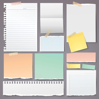 De verscheuring van het document met kleverige nota en plakbandvector