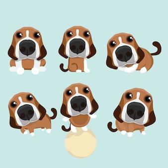 De verschillende bewerkingen van schattige beagle.