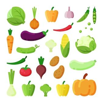 De verschillende groenten kleuren vlakke geplaatste illustraties