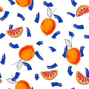 De verse organische sinaasappelen van de handschets met het geborstelde naadloze patroon van de de zomerstemming van de slag kleurrijke