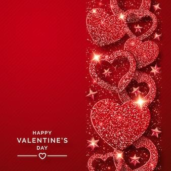 De verticale achtergrond van de valentijnskaartendag met glanzende rode harten en confettien