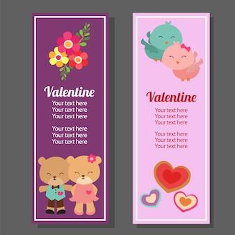 De verticale banner van de valentijnskaart met paarpanda en vogel