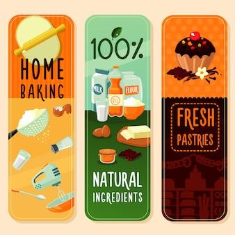 De verticale banners van bakingrediënten
