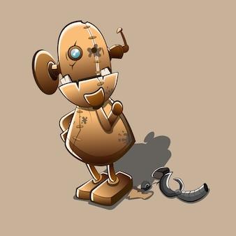 De verwarde robot bevestigt de cartoon van het schadedeel