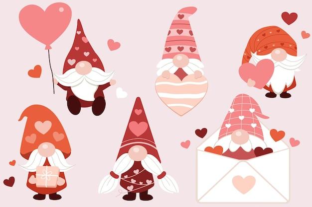 De verzameling gesneden kabouters in valentijnsdag-thema