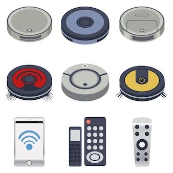 De verzameling robotstofzuigers in veel stijl met telefoon en afstandsbediening