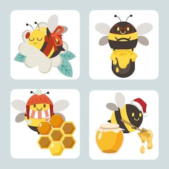 De verzameling schattige bijen met accessoire van kerstfeestthema in vlakke stijl.
