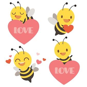 De verzameling schattige bijen met hart voor valentijnsdag