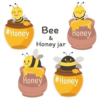 De verzameling schattige bijen met honingpot in plat