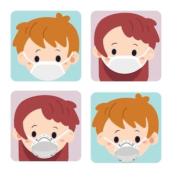 De verzameling schattige jongen en meisje draagt een masker. het karakter van schattige jongen en meisje draagt een masker omdat ze ziek zijn.