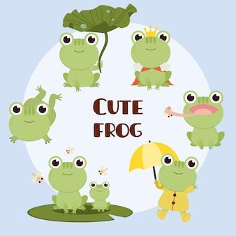 De verzameling schattige kikker met elke actie. het karakter van schattige kikker zittend op lotusblad en koning en kikker dragen regenjas.