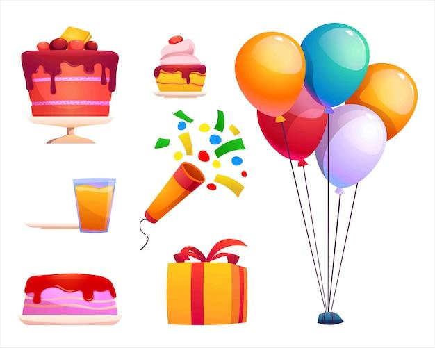 De verzameling schattige verjaardagselementen in vectorstijl