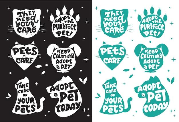 De verzameling silhouethonden en -katten met citaten over de verzorging van huisdieren