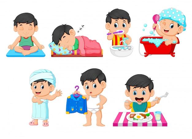 De verzameling van de jongen die de dagelijkse activiteiten uitvoert