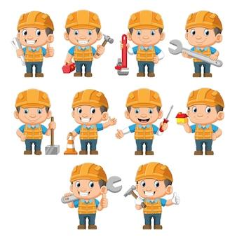 De verzameling van de professionele technicus die de verschillende gereedschappen vasthoudt