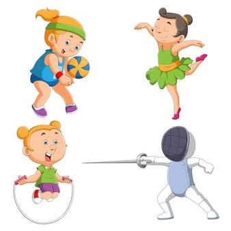 De verzameling van een klein meisje dat verschillende sporten van illustratie speelt
