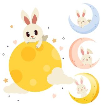 De verzameling van schattig konijn met de maan in platte vectorstijl.