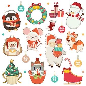 De verzameling van schattige dieren in kerstthema in het wit. de schattige pinguïn en egel en muis en alpaca amd corgi hond en schattige kat en sneeuwpop. het schattige dier in vlakke stijl