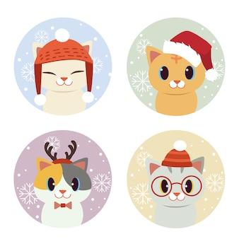 De verzameling van schattige kat in sneeuw en cirkel