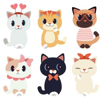 De verzameling van schattige kat in valentijnsdagthema