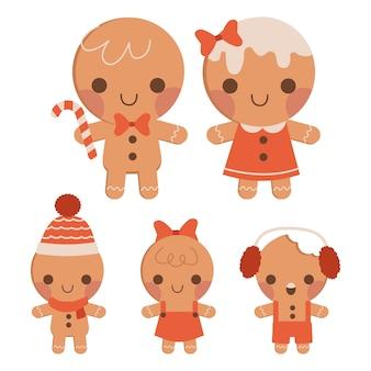 De verzameling van schattige peperkoek familie in platte vector stijl.