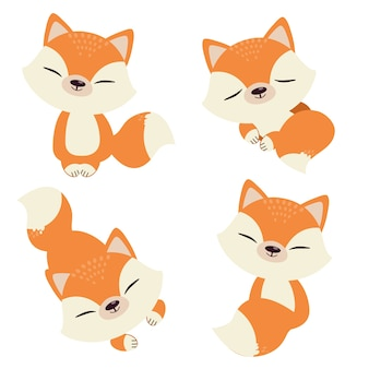 De verzameling van schattige vos in platte vectorstijl.