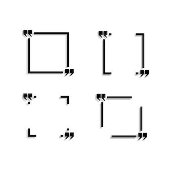 De vier zwarte gebieden voor de tekst zijn afgebeeld op een witte achtergrond.