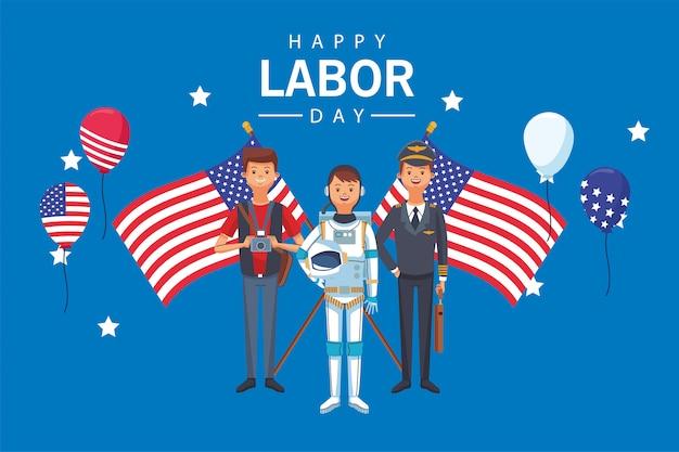 De viering van de gelukkige dag van de arbeid met arbeiders en vlaggen
