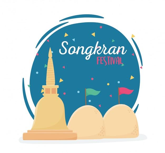 De viering van de pagodethailand van het songkranfestivalzand
