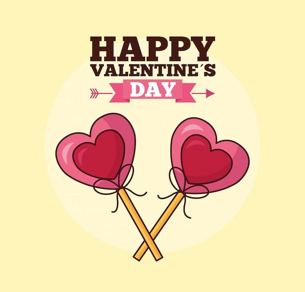 De viering van de valentijnskaartendag met hartenlollys