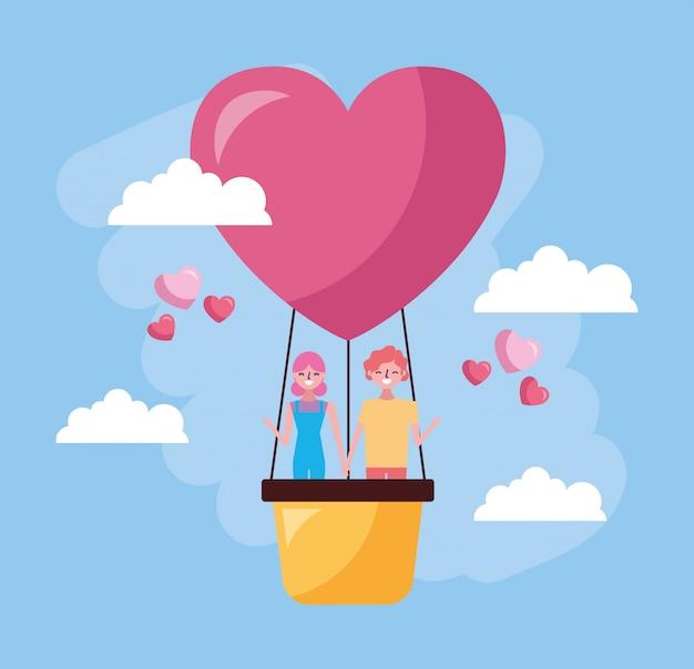 De viering van de valentijnskaartendag met minnaars in hete ballonlucht